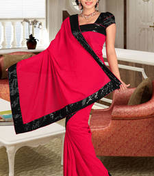 Buy Amazing Pink and Pink Chiffon Saree Showing Stone work chiffon-saree online