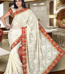 Buy Off-white Chiffon Saree with Embroidery and Stone work chiffon-saree online