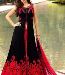 Buy Black embroidered taffeta silk semi stitched salwar with dupatta dress-material online