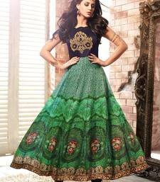 Buy Green printed crepe semi stitched salwar with dupatta dress-material online