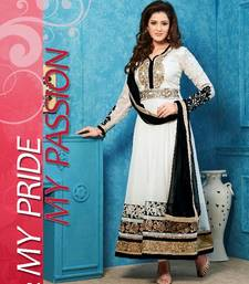 Off White color embroidered semi stitched designer anarkali suit without diamond and with plain dupatta shop online