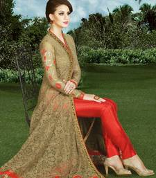 Buy Beige embroidered net semi stitched salwar with dupatta wedding-salwar-kameez online