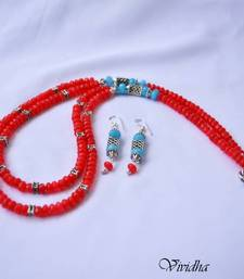Buy  Two Layer  Red and Blue beads Necklace Set Jewelry necklace-set online