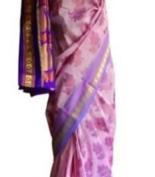 Buy Banarasi Art Silk Purple Saree With Zari Work and Blouse banarasi-silk-saree online