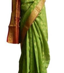 Buy Banarasi Art Silk Leaf Green Saree With Zari Work and Blouse banarasi-silk-saree online