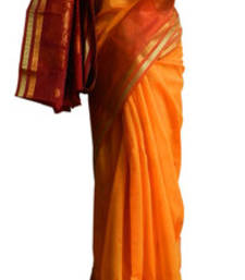 Buy Banarasi Art Silk Orange Saree With Zari Work and Blouse banarasi-silk-saree online