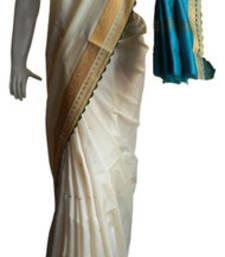 Buy Off White & Blue Banarasi Silk Saree 17011-2224 banarasi-silk-saree online