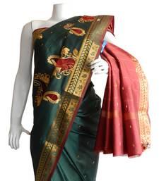 Buy Dark Green & Red Banarasi Silk Saree 3805-2300 banarasi-silk-saree online