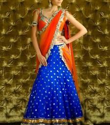 Buy Orange & Blue Designer Lehenga bollywood-lehenga online