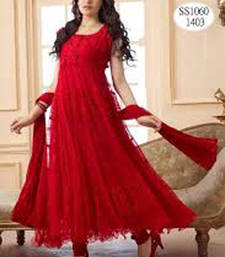 Buy Red brasso net semi stitched salwar with dupatta semi-stitched-salwar-suit online