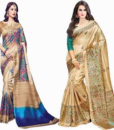 Buy Multicolor printed cotton silk saree with blouse sarees-combo-sari online