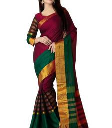 Buy Multicolor plain cotton silk saree with blouse cotton-silk-saree online