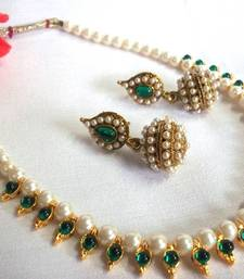 Dark Green Pearl Necklace Set shop online