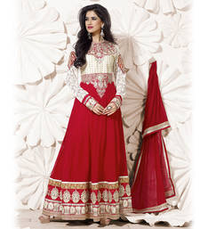 OffWhite and Red Anarkali Suit