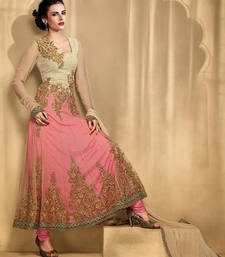 Buy Beige and Pink Anarkali Suit anarkali-salwar-kameez online