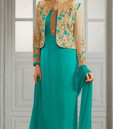 Buy Sky Blue embroidered crepe semi stitched salwar with dupatta semi-stitched-salwar-suit online
