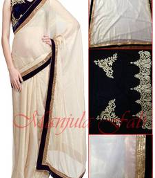 Buy Stunning Designer Off White Saree madhuri-dixit-saree online