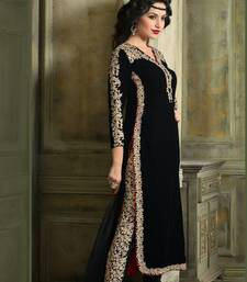 Buy Black embroidered velvet semi stitched salwar with dupatta semi-stitched-salwar-suit online