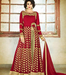 Buy Maroon embroidered georgette semi stitched salwar with dupatta wedding-salwar-kameez online