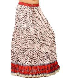 Buy Sanganeri Bootie White Red Pure Cotton Skirt skirt online