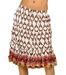 Buy Off White Designer Crushed Cotton Short Skirt skirt online
