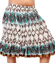 Buy Designer White Sea Green Cotton Short Skirt skirt online