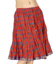 Buy Hand Block Print Sanganeri Cotton Mini Skirt skirt online