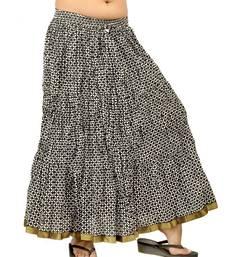 Buy Exclusive Block Print Black White Long Skirt skirt online