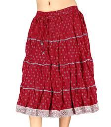 Buy Silver Block Print Red Pure Cotton Short Skirt skirt online