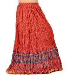 Buy Ethnic Zari Border Red Blue Pure Cotton Skirt skirt online
