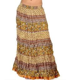 Buy Rajasthani Green Ethnic Multi Print Long Skirt skirt online