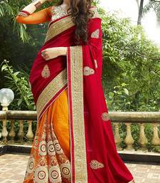 Buy Red and orange embroidered net and georgette saree with blouse designer-embroidered-saree online