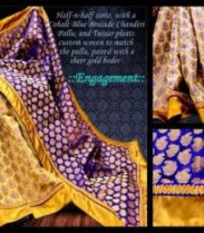 Buy Cobalt Blue & Gold Brocade Chanderi & Tussar chanderi-saree online