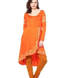 Buy  kukn089 Viscose Orange Tulip Sahped Kurti kurtas-and-kurti online