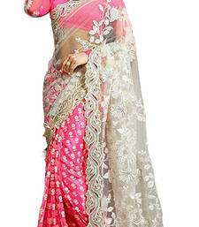 Buy Pink embroidered faux chiffon saree with blouse party-wear-saree online