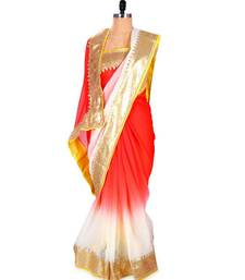 Buy Get this chiffon ombre saree with gold border by Purple Oyster chiffon-saree online