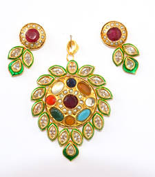 Buy navrantan with kundan Pendant online