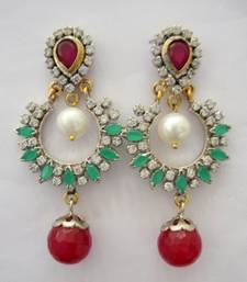 Buy ANTIQUE VICTORIAN RED GREEN N WHITE COLOUR STONES HANGINGS WITH RED PEARLS DROP danglers-drop online
