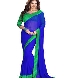 Buy Blue embroidered georgette saree with blouse karwa-chauth-saree online