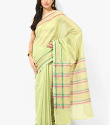 Buy Mehendi woven blended cotton saree with blouse cotton-saree online