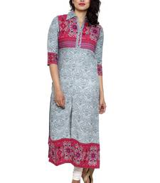 Buy Beige printed cotton long-kurtis long-kurti online