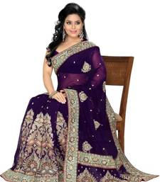 Buy  Embroidered FAUX GEORGETTE PURPLE Sarees designer-embroidered-saree online