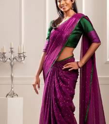 Buy Aavaranaa PurpleChiffon sarees chiffon-saree online
