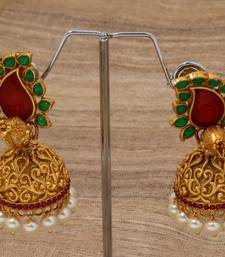 Buy Red green paisely peacock jumka jhumka online
