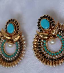 Buy Mango Stone Studded Moon Drop Earring -  Turquoise Black danglers-drop online