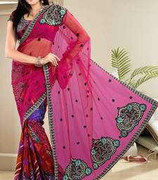 Buy  Fabulous Magenta Net Digital Print Party Wear Saree With Blouse net-saree online