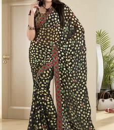 Buy  Elegant Black Brasso Saree With Blouse brasso-saree online