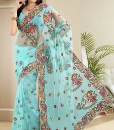 Buy Beautiful Cyan Net Party Wear Saree With Blouse net-saree online