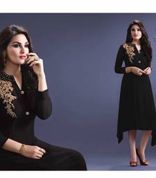 Buy Black embroidered Fox Georgette semi stitched kurti party-wear-kurti online