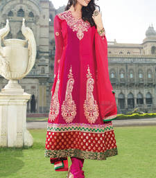 Buy Hypnotex Pink Faux Georgette Dress Material Inara852 dress-material online